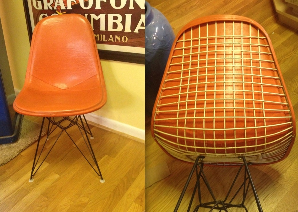 eames wire chair orange alexander girard naugahyde full cover. Black Bedroom Furniture Sets. Home Design Ideas