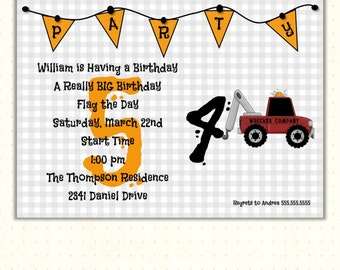 Boys Birthday Party Invitation, boy, tractor, toddler, kids, 1st, 2nd, 3rd, 4th, 5th, card, children, digital, printable, invite, G1422