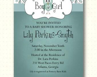 Baby Shower Invitation, owl, boy, girl, sprinkle, gender reveal, sip and see, green, chalkboard, digital, printable, invite B1435