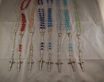 Hand Made Rosary Beads Silver w/Blues Green Red Pink Clear