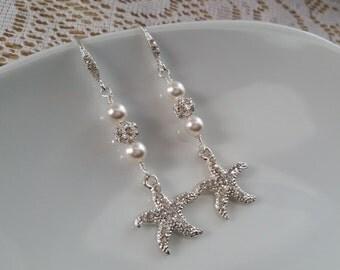 Silver Crystal Rhinestone Starfish Pearl Earring Wedding Jewelry Beach Starfish Theme Bridal Ear Ring Drop