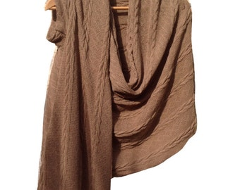 One sleeve scarf / Women top / Casual chic / Brown-camel shrug / Scarf / Shrug