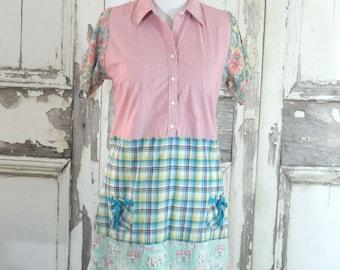 Pink Pastel Plaid Tunic Dress Country Dress Eco Fashion Upcycled Clothing Boho Chic Shabby Chic