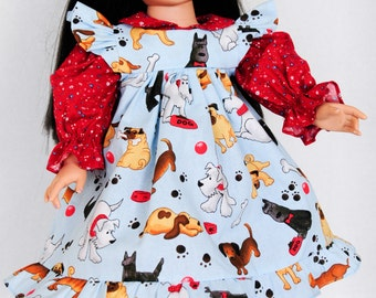 18 Inch Doll Clothes, Pinafore Dress, Flowers, Dogs, Red, Valentine's Day