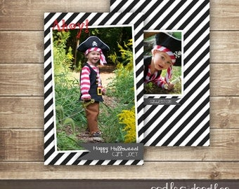 Halloween Pirate Photo Card, Children's  Halloween Photo Card, Pirate, Black and White Stripes, Happy Halloween Card, Printable or Printed