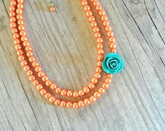 Orange pearl necklace,Orange rose necklace,Tangerine orange necklace,bridesmaids orange tangerine gift,bridal orange jewelry,orange wedding