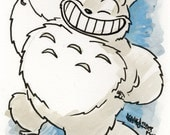 My Neighbor Totoro, Small Ink & Watercolor Original Drawing
