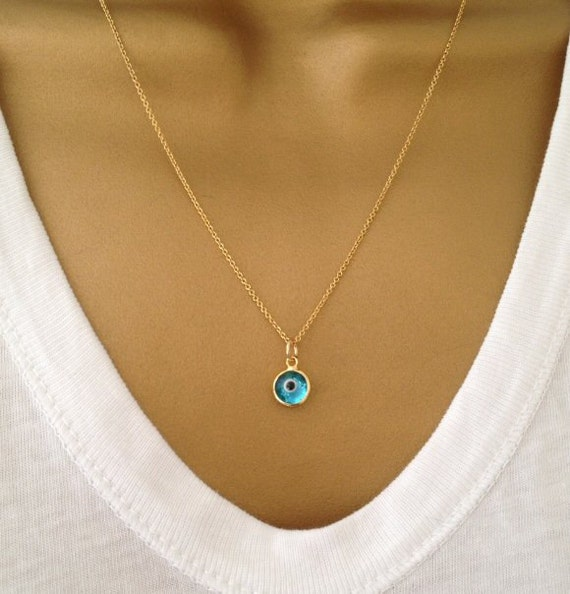 Gold Evil Eye Necklace Swarovski Crystal Necklace Aqua Blue UK