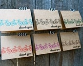 Bicycle Thank You Cards, Kraft Bicycle Cards, more colors set of 6 ...Bicycle Cards, Bicycle notecards