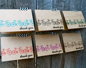 Bicycle Thank You Cards, Bicycle Cards, Kraft Bicycle Cards, Cycling,Handmade Bicycle Cards, Thank You Set, Bicycle, Bicycle Themed Wedding