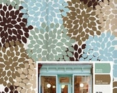 Shower Curtain Blue Brown Storefront Inspired Floral Standard and Long Lengths 70, 74, 78, 84, 88 or 96 in. Let's make one in your colors!