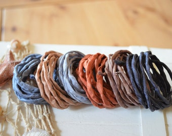 Hand dyed Silk Cords  - Set of 6 - grey brown silk ribbons bracelet necklace