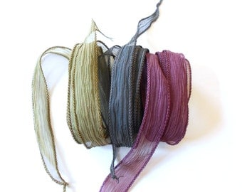 Hand dyed Silk Ribbon for bracelet necklace - Set of 3 - sepia - taupe - blackbrown