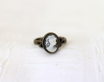 Antique Bronze Cameo Ring, Size 6.5