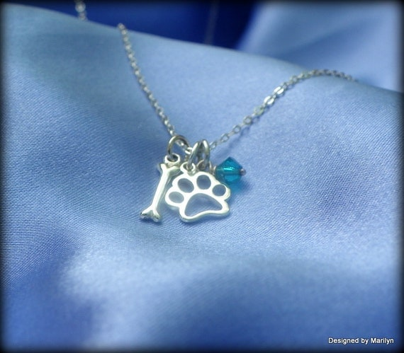 Sterling silver animal lovers necklace,  paw print and dog bone necklace, birthstone jewelry