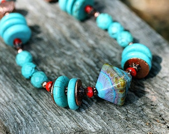 Turquoise Necklace, Boho Jewelry, Ethnic necklace, Beaded Necklace, Lampwork jewelry, Boho, Gypsy, Rustic, by MayaHoney