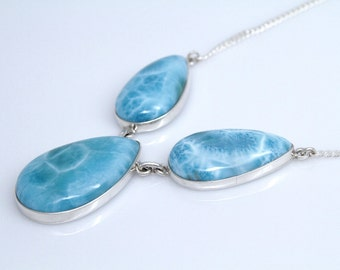 Larimar Necklace, OOAK Larimar Jewelry for Women, Atlantis Necklace