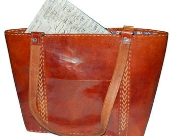 Handmade Tanned Colour Leather Tote Bag