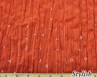 Rust Sequins Stripe Crinkle Chiffon Fabric by the yard, Crinkle Chiffon Fabric, Sequins Chiffon Fabric, Chiffon Dress Fabric - 1 Yard S2607
