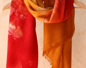 Hand dyed and painted merino wool scarf: Red and Amber