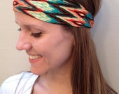 Wide Headband Orange and Teal Chevron, Chevron Fabric Headband, Women's Headwrap, Girls Headband, Elastic Headband