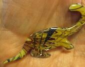 Unique Dinosaur Pin, Brass with Gold Purple Foil, Tan Brown, Backgroud, Dino Jewelry, Dinosaur Brooch ~ BreezyTownship.etsy.com      BP021