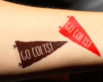 20 Custom Temporary Tattoos for the WHOLE TEAM! School Spirit Goodies (Pennant Design)