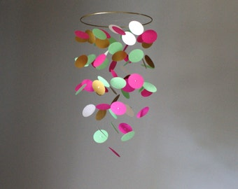 Small Mint, Fuchsia, Gold and White Circle Chandelier Mobile