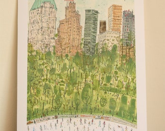 CENTRAL PARK Art New York City Print, Skating Central Park, Signed Giclee Print NYC Watercolor Painting, Ice Skaters New York, Nyc Skyline