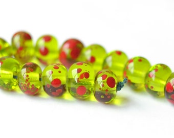 Lampwork Bead  - Transparent Green Red - 15 pcs Glass Lampwork Beads Set