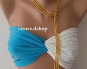 PADDED Spandex Bandeau - swimwear-swimsuit-sun bathing -Bikini top-blue and white