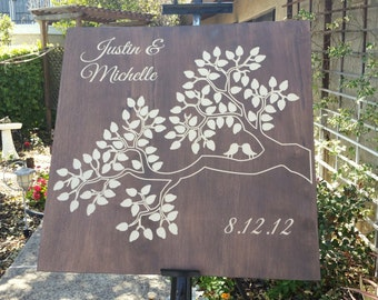 Wooden Carved Guest Book Tree Branch - 75, 100 signatures