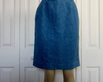 Vintage Denim Skirt 90s Grunge Talbots Jean Skirt Womens Teens Short Casual Hipster Denim