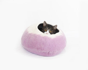 Cat Bed Cave House Felted Wool lavender with free Ball
