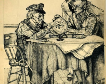 Seamen w old captain globe antique drawing by R. Sonsin