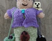 """Crazy Cat Lady Doll, Customized, Hand Knitted, approx. 9"""" - 10"""" tall"""