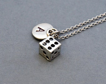 Dice necklace, Tiny dice charm, small dice, antique silver, initial necklace, personalized, monogram