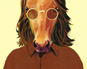 Animal painting portrait painting Giclee Print Acrylic Painting Illustration Print wall art wall decor Wall Hanging: John Lennon horse