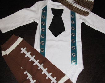 MIAMI DOLPHINS inspired football outfit for baby boy - tie bodysuit with suspenders, crochet hat, leg warmers
