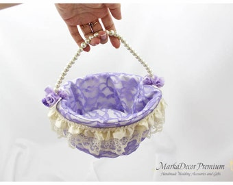 Lace Wedding Bridal Flower Girl Basket Brooch Pearl Custom Basket with Brooches Crystals Handmade Flowers in Ivory, Lavender Lilac