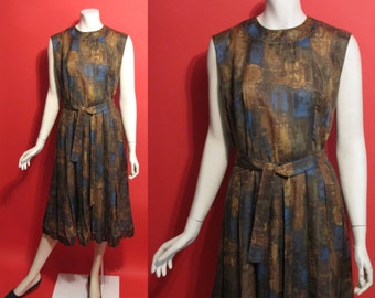 Vintage 1950's Autumn Leaves Linen Pleated Atomic 50's Womens Dress - M