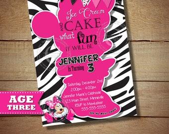 HUGE SELECTION Zebra Minnie Mouse Birthday Invitation, Black Zebra Minnie Mouse Invitation, Girls 3rd Third Birthday Invitation, DIY Minnie