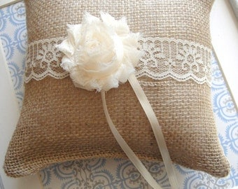 Rustic Ring Pillow, Weddings, Ring Bearer Pillow, Bride, Burlap Ring Pillows