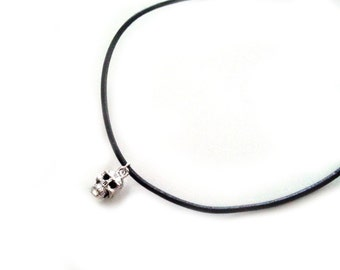 Skull Choker Necklace, Black Leather Cord Choker, Silver Plated Charm, Charm Necklace