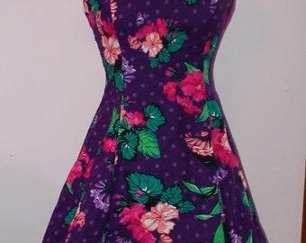 Vintage 90's Floral Tropical Halter Dress!  D.B.A-L.A. Brand