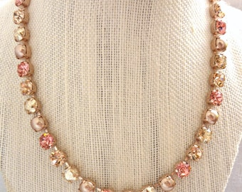Swarovski Crystal Necklace, 8mm Light Peach, Pearl, Rose Gold, Designer Inspired Crystal Necklace, Siggy Jewelry, FREE SHIPPING