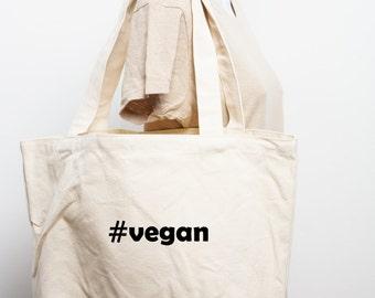 Hashtag # Vegan Organic Cotton Canvas Tote Bag Vegetarian Sustainable Market Grocery Bag Animal Rights Social Media Natural Book Bag