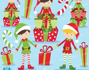 80% 0FF SALE Christmas Elves boys clipart commercial use, vector graphics, digital clip art, digital images  - CL599
