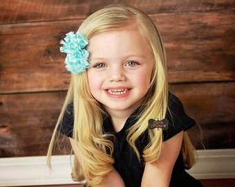 MORE COLORS-Rhinestone-Chevron Chiffon Flower-Boutique Style-Shabby Chic-Rhinestone Flower-Turquoise Bow, Blue Hair Clip, Chevron