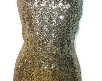 Gold Sequin Dress, Tunic. Top, Sexy Sequin Womens Dress, 4Way Stretch, One Arm Dress, Order Your Size 4-16